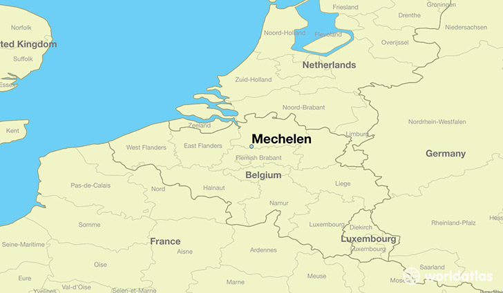 map showing the location of Mechelen