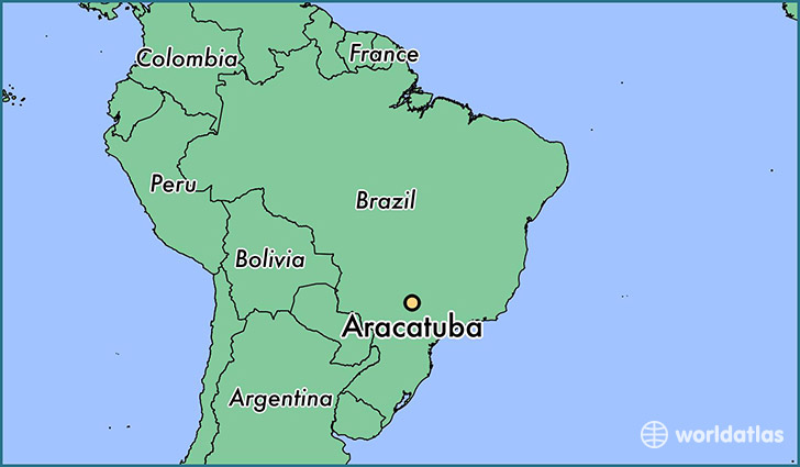 map showing the location of Aracatuba