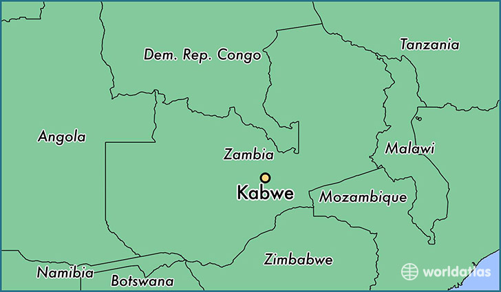 map showing the location of Kabwe