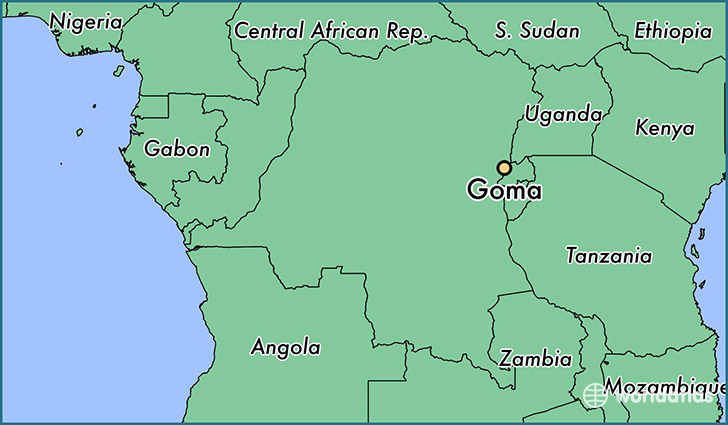 map showing the location of Goma
