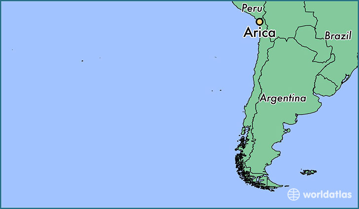 map showing the location of Arica
