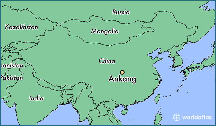 map showing the location of Ankang