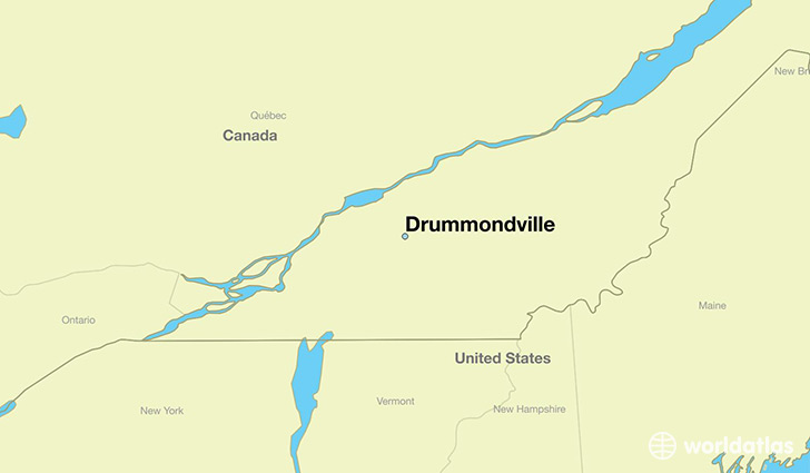 map showing the location of Drummondville