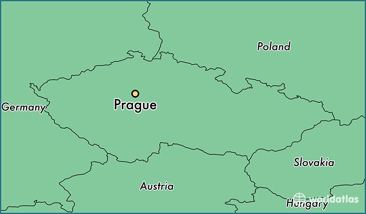map showing the location of Prague