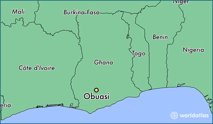 map showing the location of Obuasi