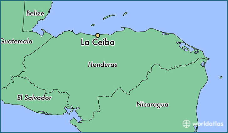 Where is la ceiba honduras la ceiba atlantida map worldatlas map showing the location of la ceiba gumiabroncs Gallery