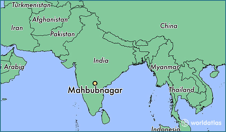 map showing the location of Mahbubnagar