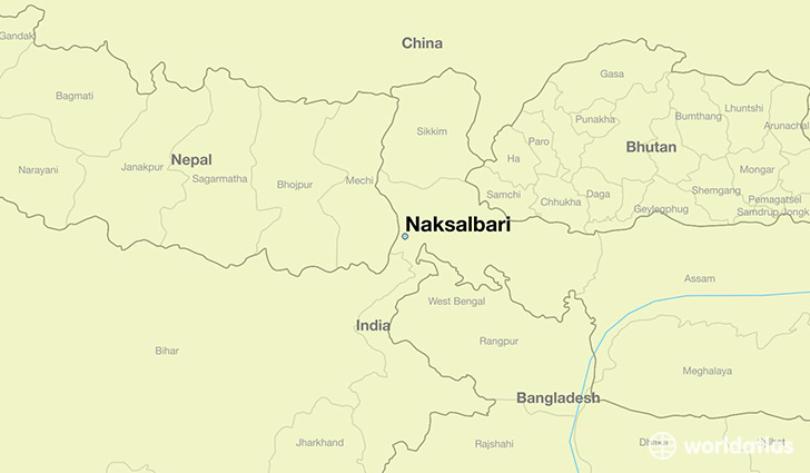 map showing the location of Naksalbari
