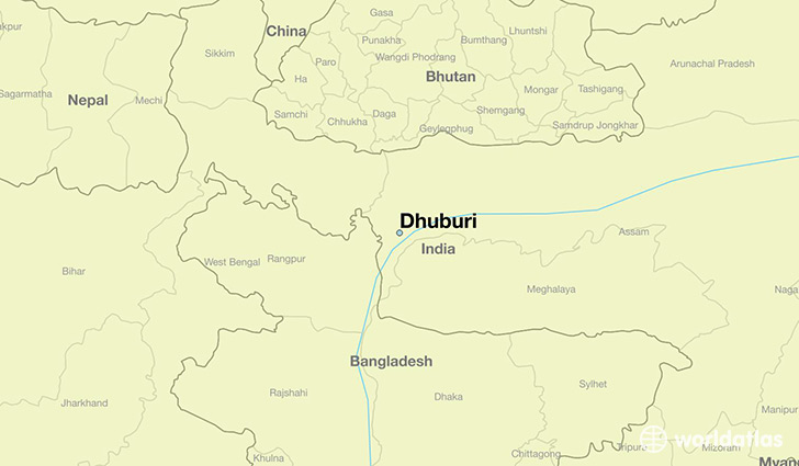 map showing the location of Dhuburi