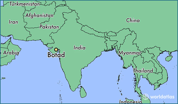 map showing the location of Botad