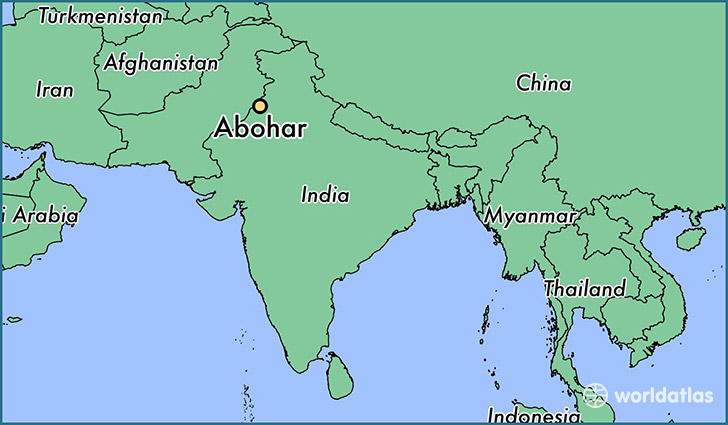 map showing the location of Abohar