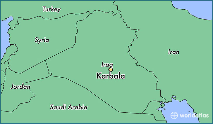 map showing the location of Karbala