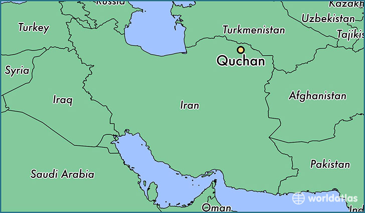 map showing the location of Quchan