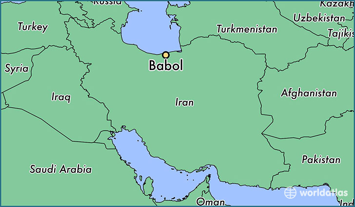 map showing the location of Babol