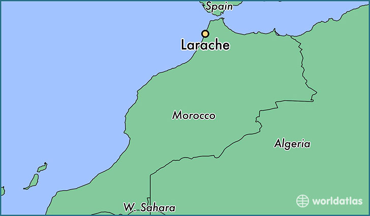 map showing the location of Larache