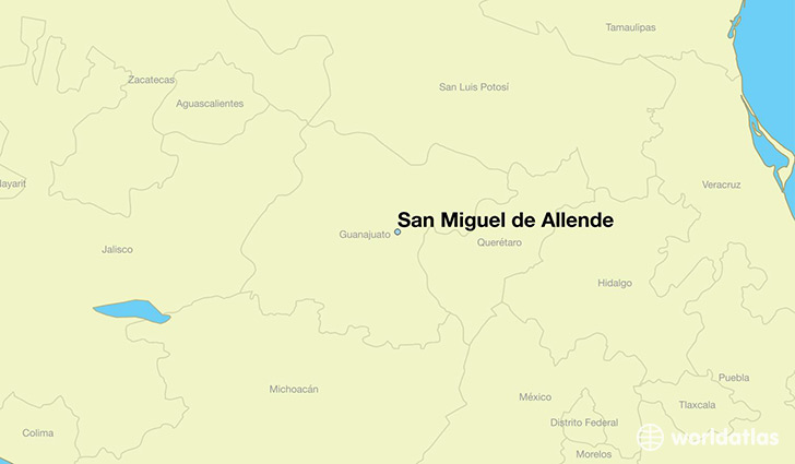 map showing the location of San Miguel de Allende