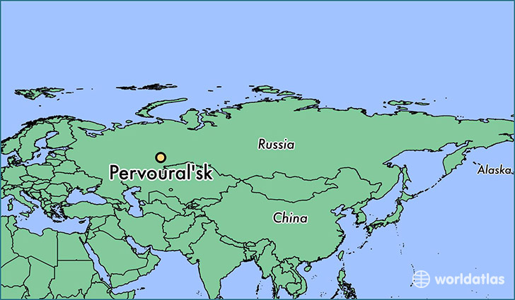 map showing the location of Pervoural'sk