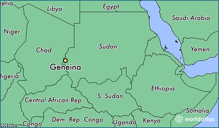 map showing the location of Geneina