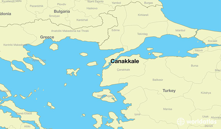 map showing the location of Canakkale