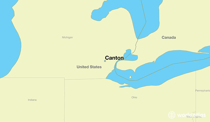map showing the location of Canton