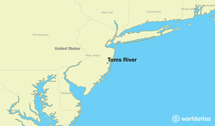 map showing the location of Toms River