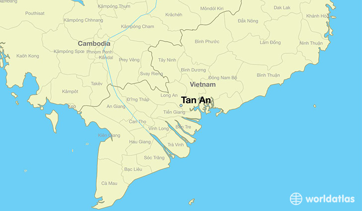 map showing the location of Tan An