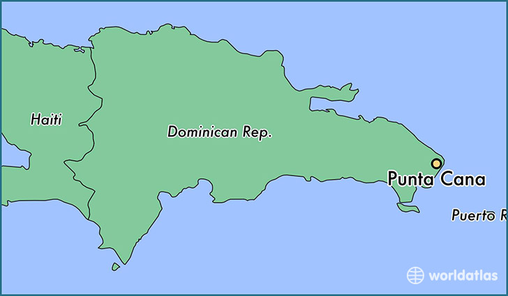 map showing the location of Punta Cana