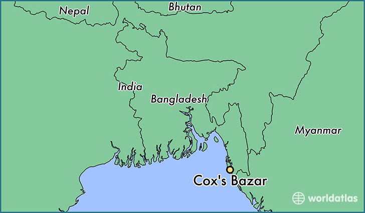 map showing the location of Cox's Bazar
