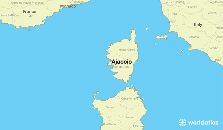 map showing the location of Ajaccio