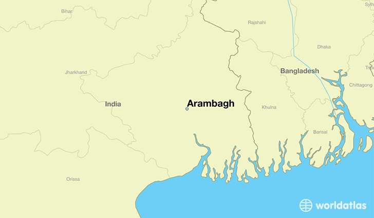 map showing the location of Arambagh