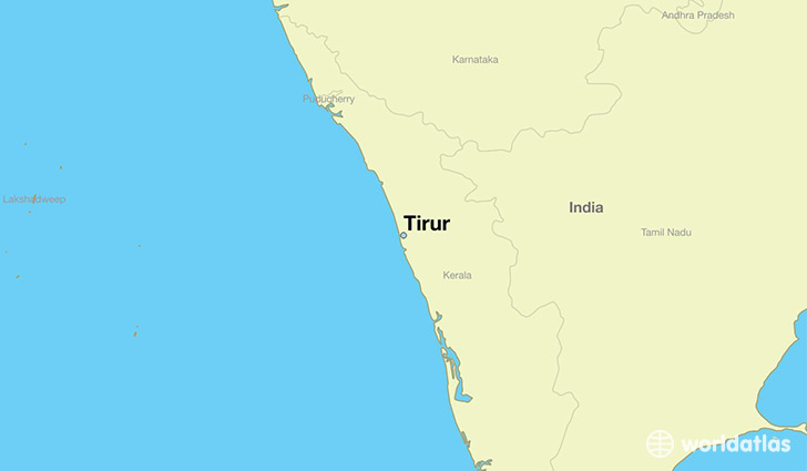 map showing the location of Tirur