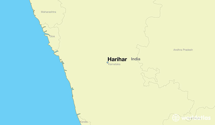 map showing the location of Harihar