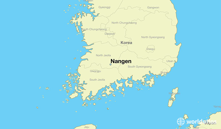 map showing the location of Nangen