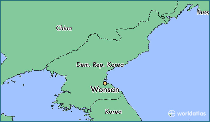 map showing the location of Wonsan