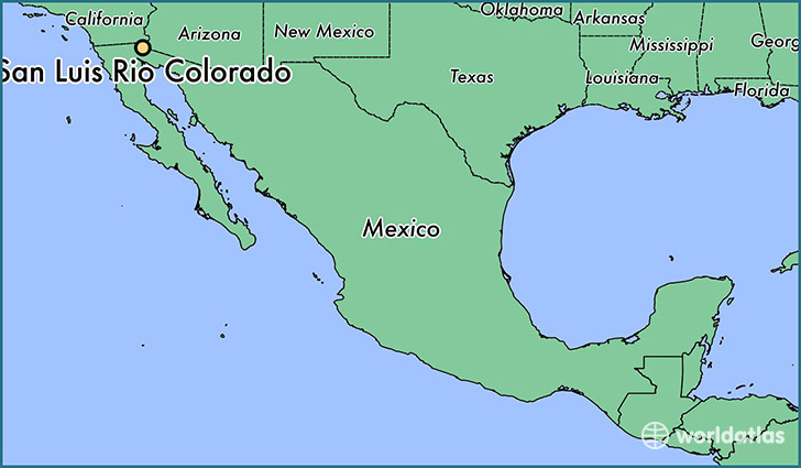 map showing the location of San Luis Rio Colorado