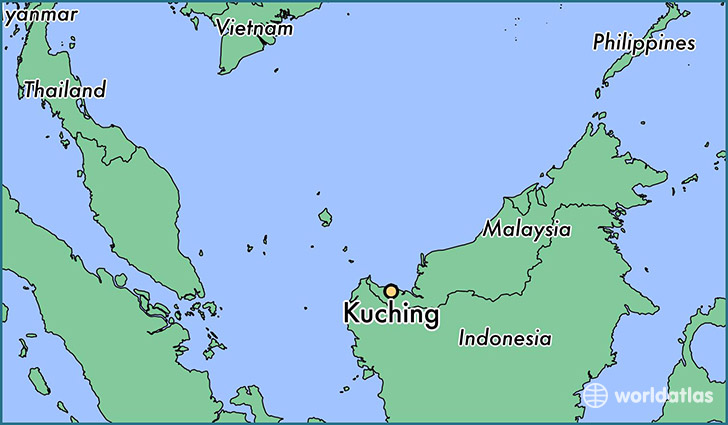 map showing the location of Kuching