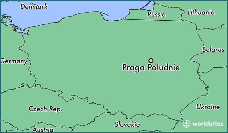 map showing the location of Praga Poludnie