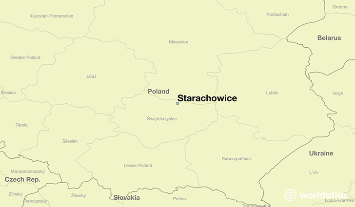 map showing the location of Starachowice