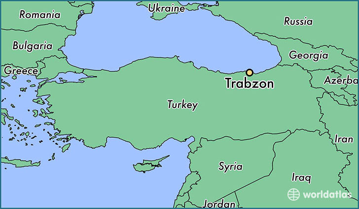 map showing the location of Trabzon