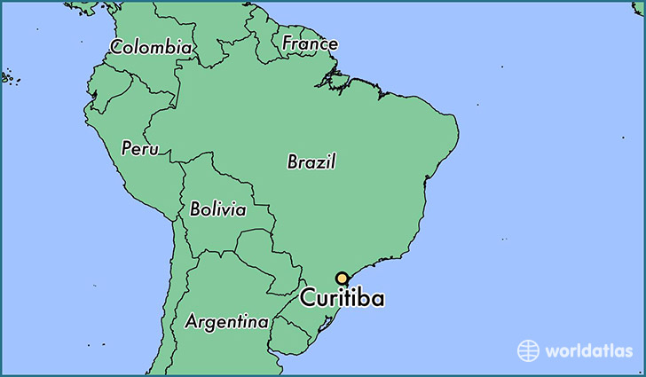 map showing the location of Curitiba