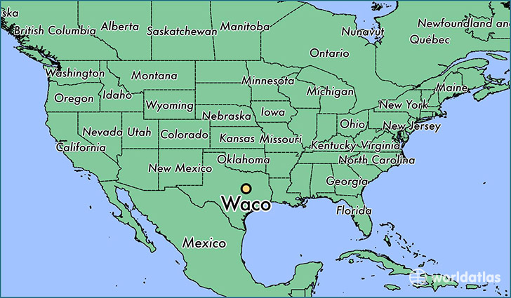 map showing the location of Waco