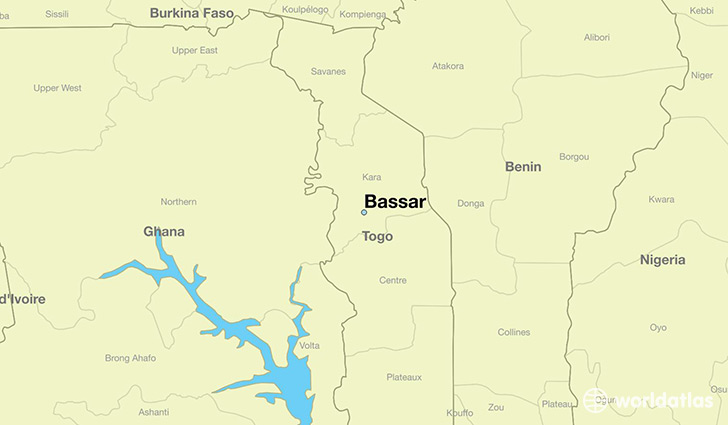 map showing the location of Bassar