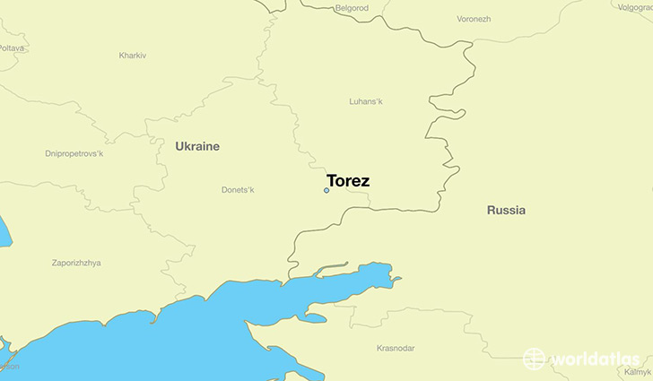map showing the location of Torez