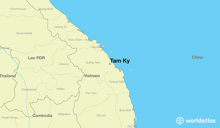 map showing the location of Tam Ky