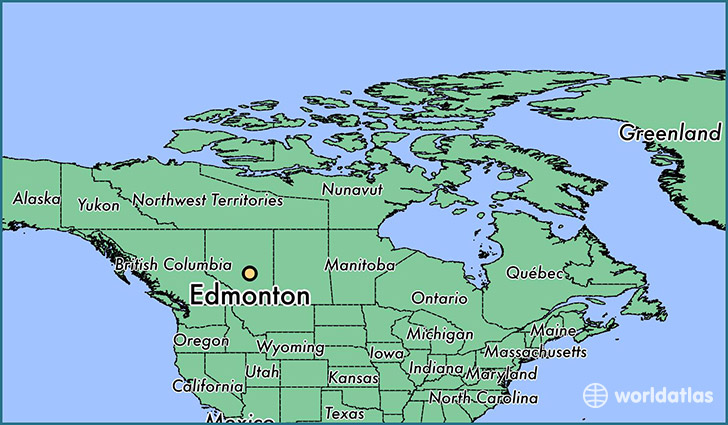 map showing the location of Edmonton