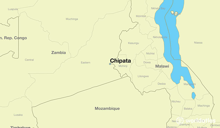 map showing the location of Chipata