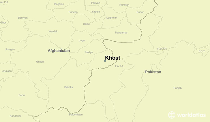 map showing the location of Khost