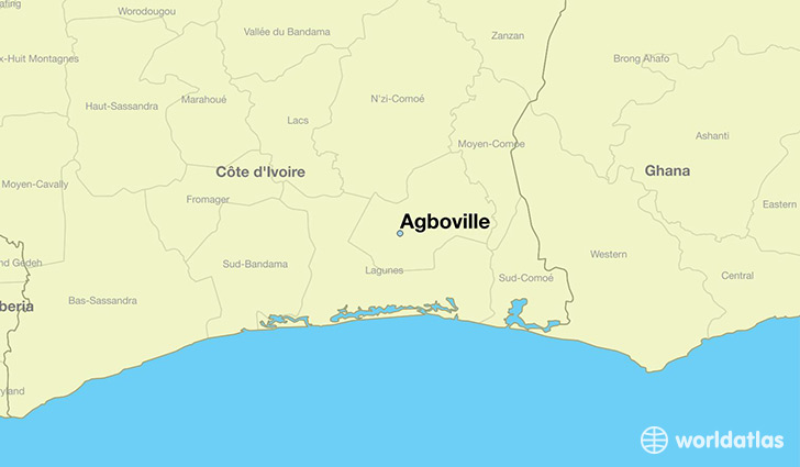 map showing the location of Agboville