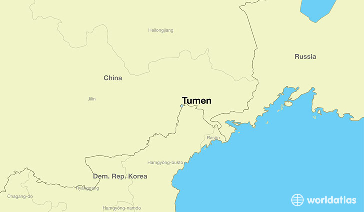 map showing the location of Tumen