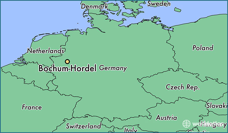 map showing the location of Bochum-Hordel